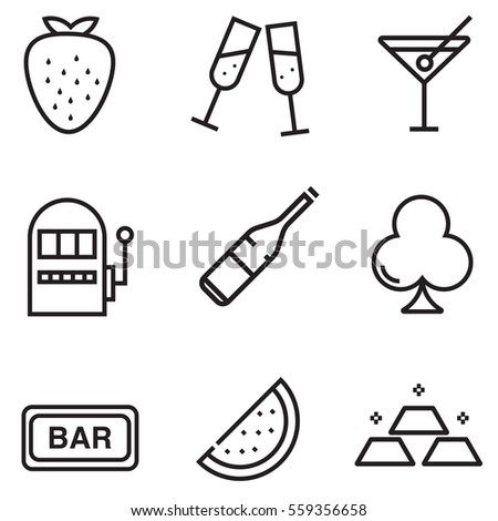 Casino icon set design with clour  illustration EPS10
