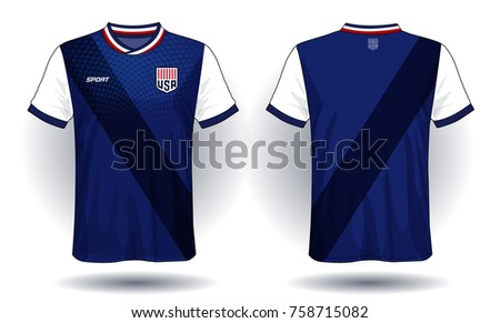 c826823a1 Soccer jersey template.Blue and black layout sport t-shirt design ...