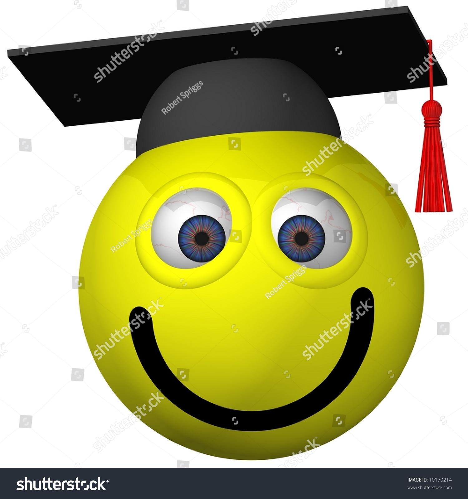 可爱的笑脸穿毕业帽孤立在白色的-插图/剪贴图