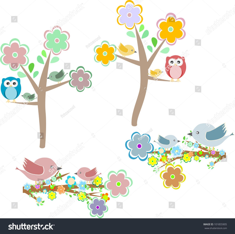 秋天的自然元素:猫头鹰和小鸟在树枝上和橡树-动物