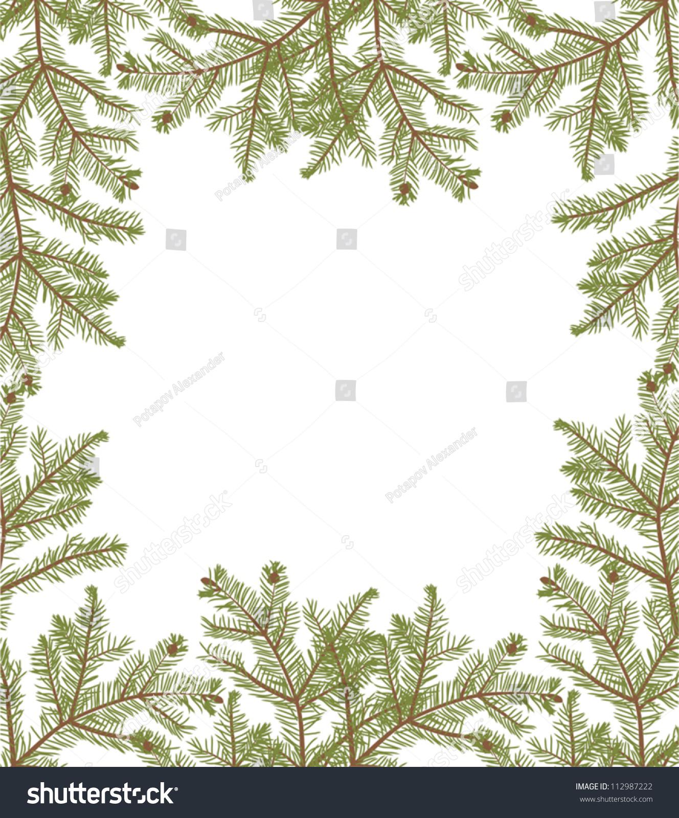 插图与冷杉树枝孤立在白色背景-自然-海洛创意()
