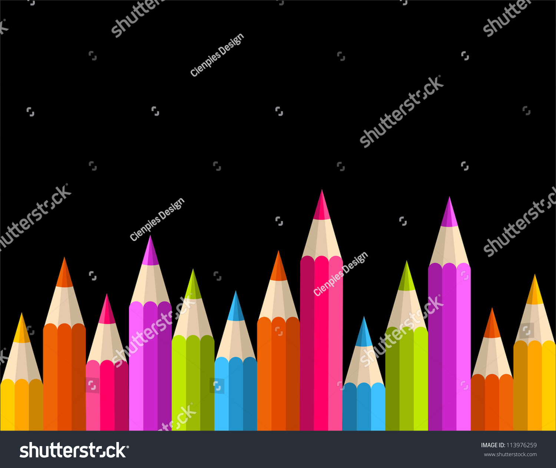 五彩缤纷的彩虹铅笔无缝横幅模式.-背景/素材,教育-()