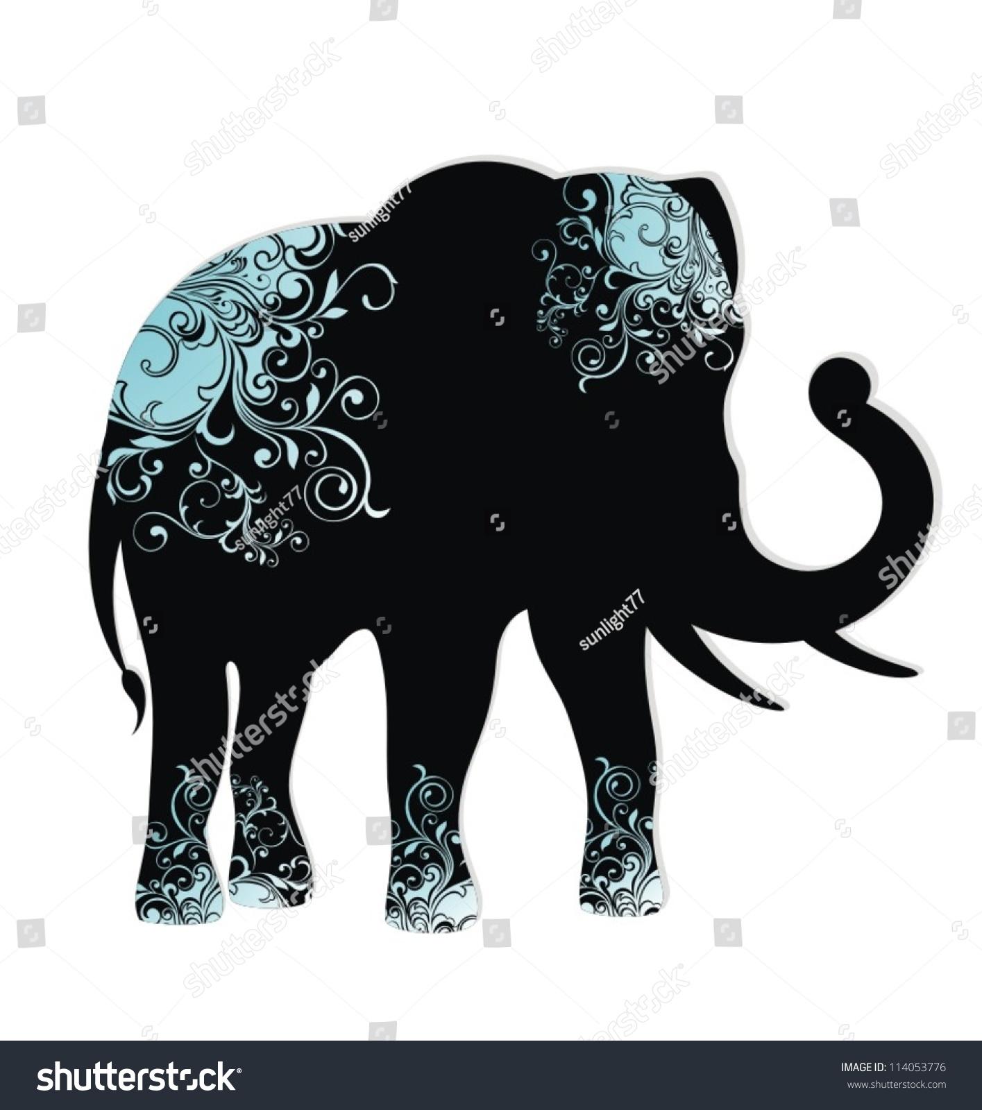 大象的剪影-动物/野生生物,抽象-海洛创意(hellorf)-.