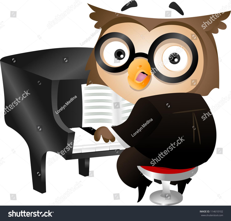 插图的书呆子猫头鹰弹钢琴-动物/野生生物-海洛创意()图片