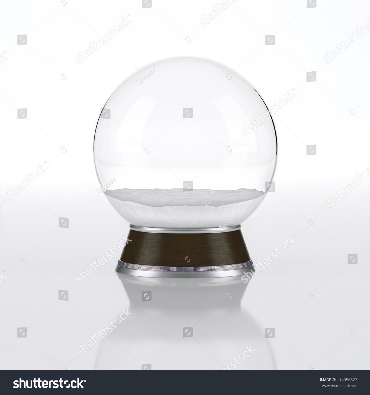 空的白色背景上雪花玻璃球