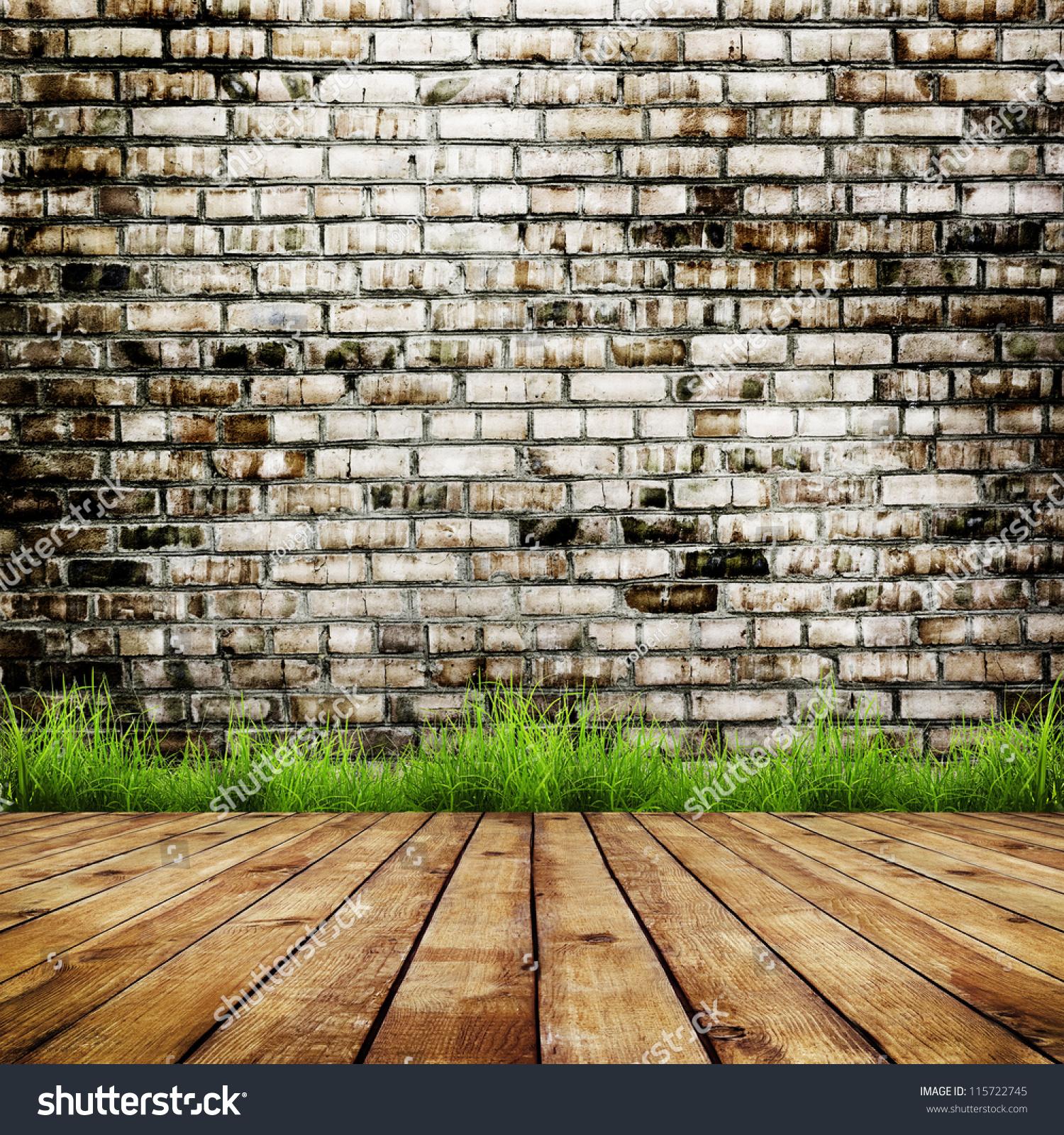 草在木地板的背景