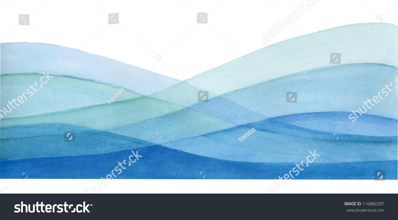 海浪漩涡蓝色水彩嗨res-背景/素材