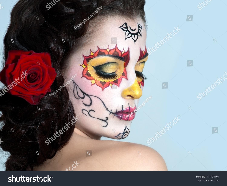 骷髅脸艺术面具死新娘的女人.万圣节-人物,美容/时装