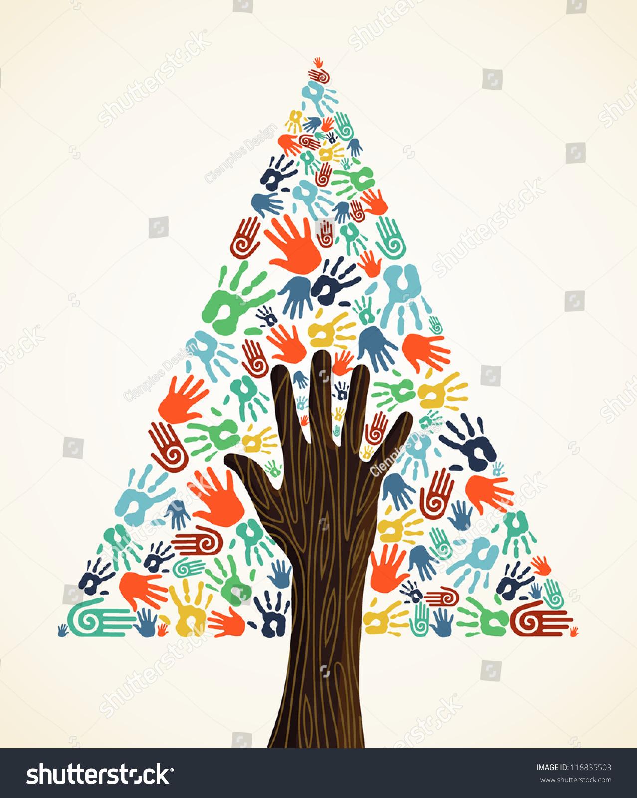 多样化的圣诞树的手牌背景.用于易操作和自定义着色的