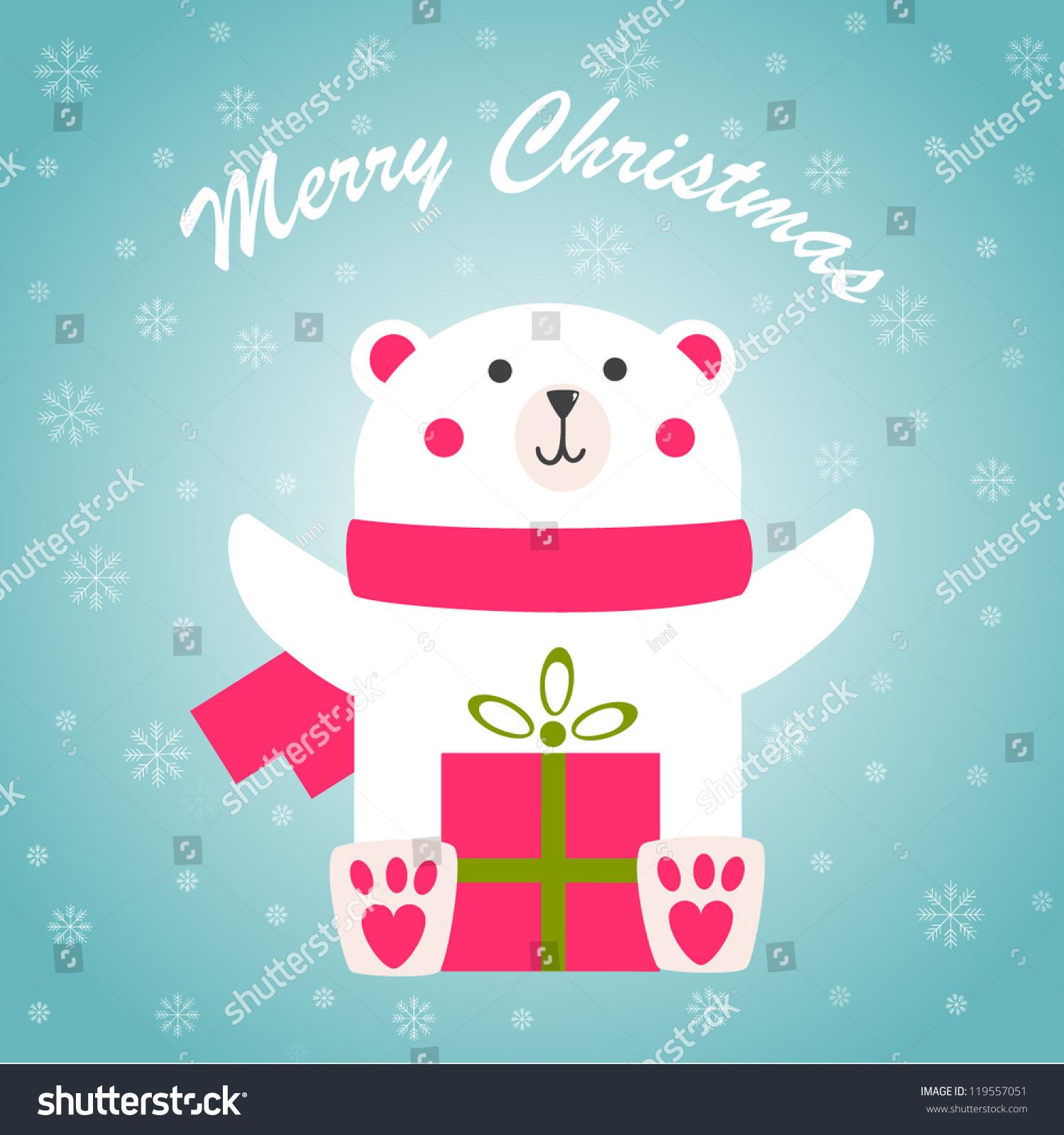 圣诞贺卡和可爱的北极熊-动物/野生生物