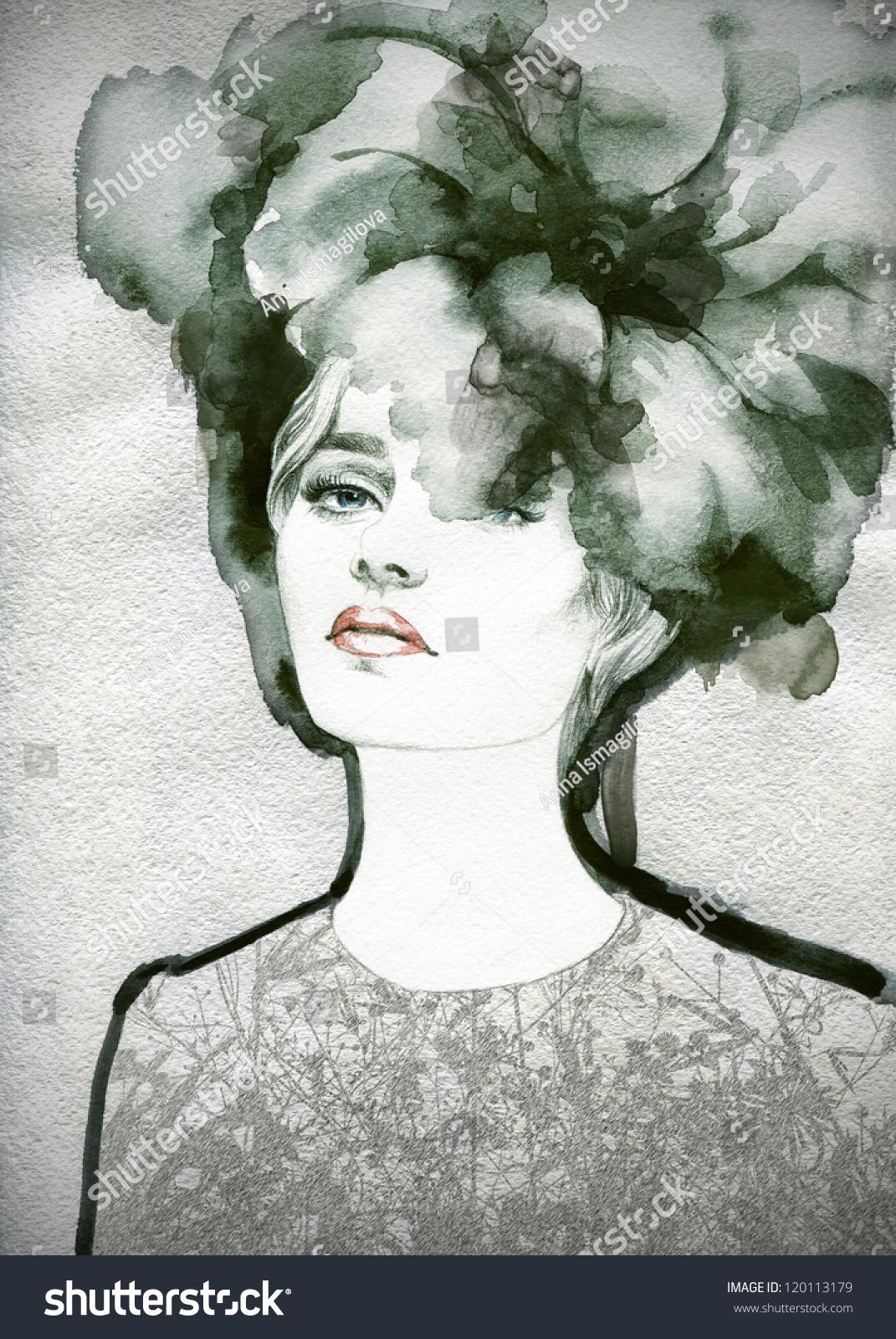 女人的脸.手绘时装插图-人物,美容/时装服饰-海洛创意