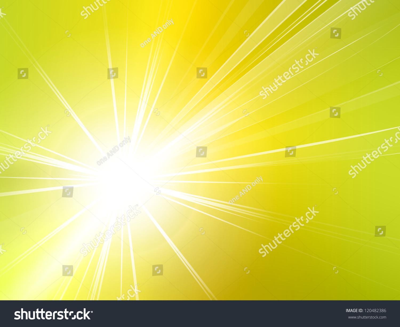 淡黄色绿色亮光背景——抽象的太阳和光线-背景/素材