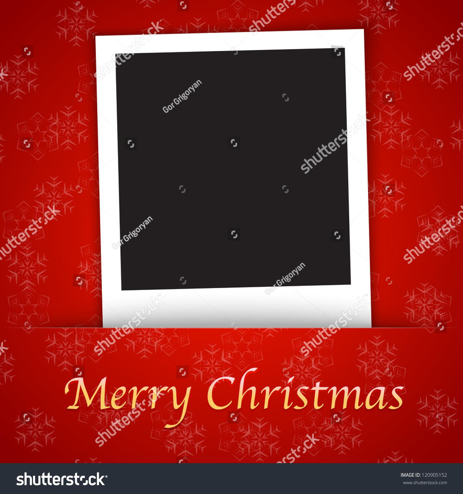 圣诞快乐卡片模板与空白相框红色背景-背景/素材
