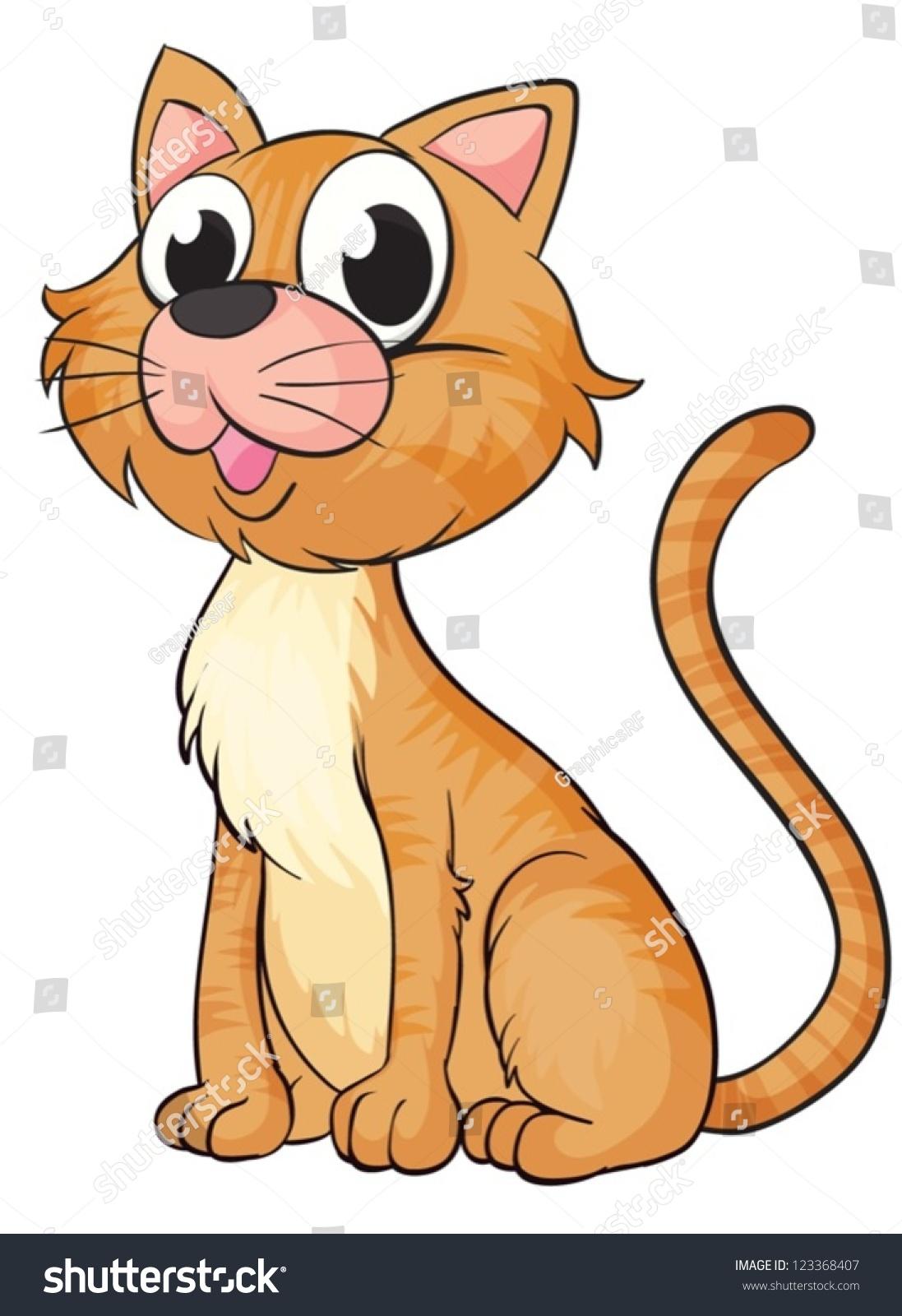 微笑的猫在一个白色背景的插图-动物/野生生物-海洛