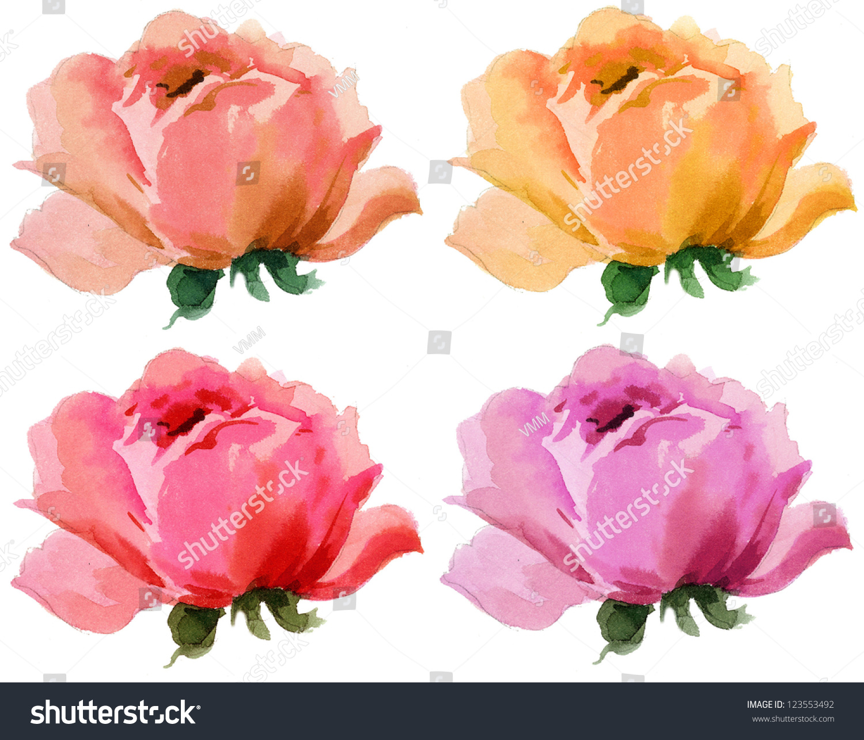 美丽玫瑰花水彩画无缝墙纸背景-自然,美容/时装服饰