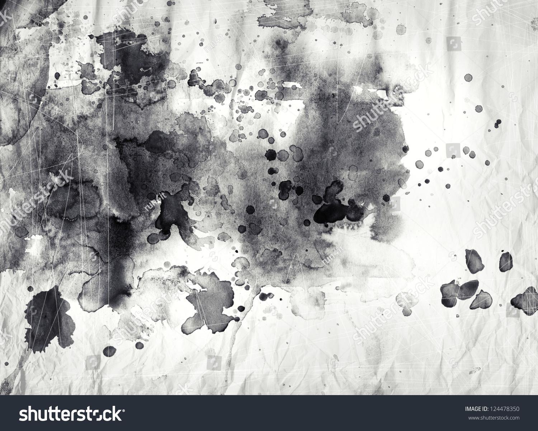 文摘黑白水墨在枯燥乏味的纹理-背景/素材,抽象-海洛