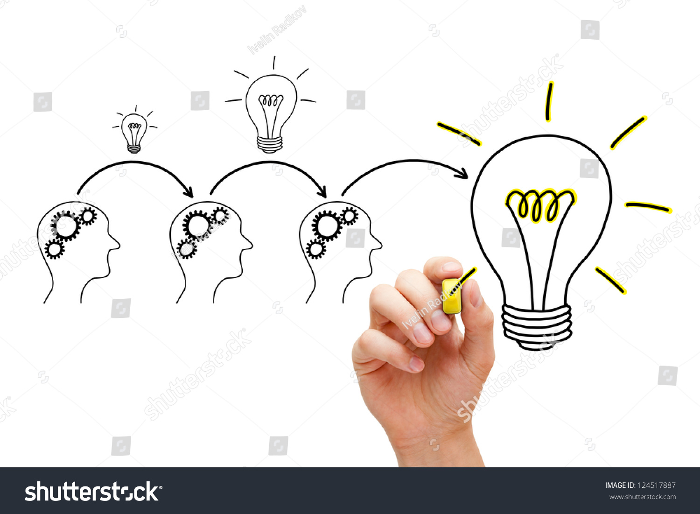团队合作构建大创意.如果每个人都给了一点,它增加了.