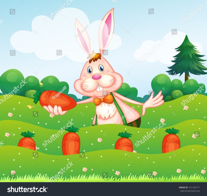 插图一只兔子拿着胡萝卜的花园-动物/野生生物-海洛