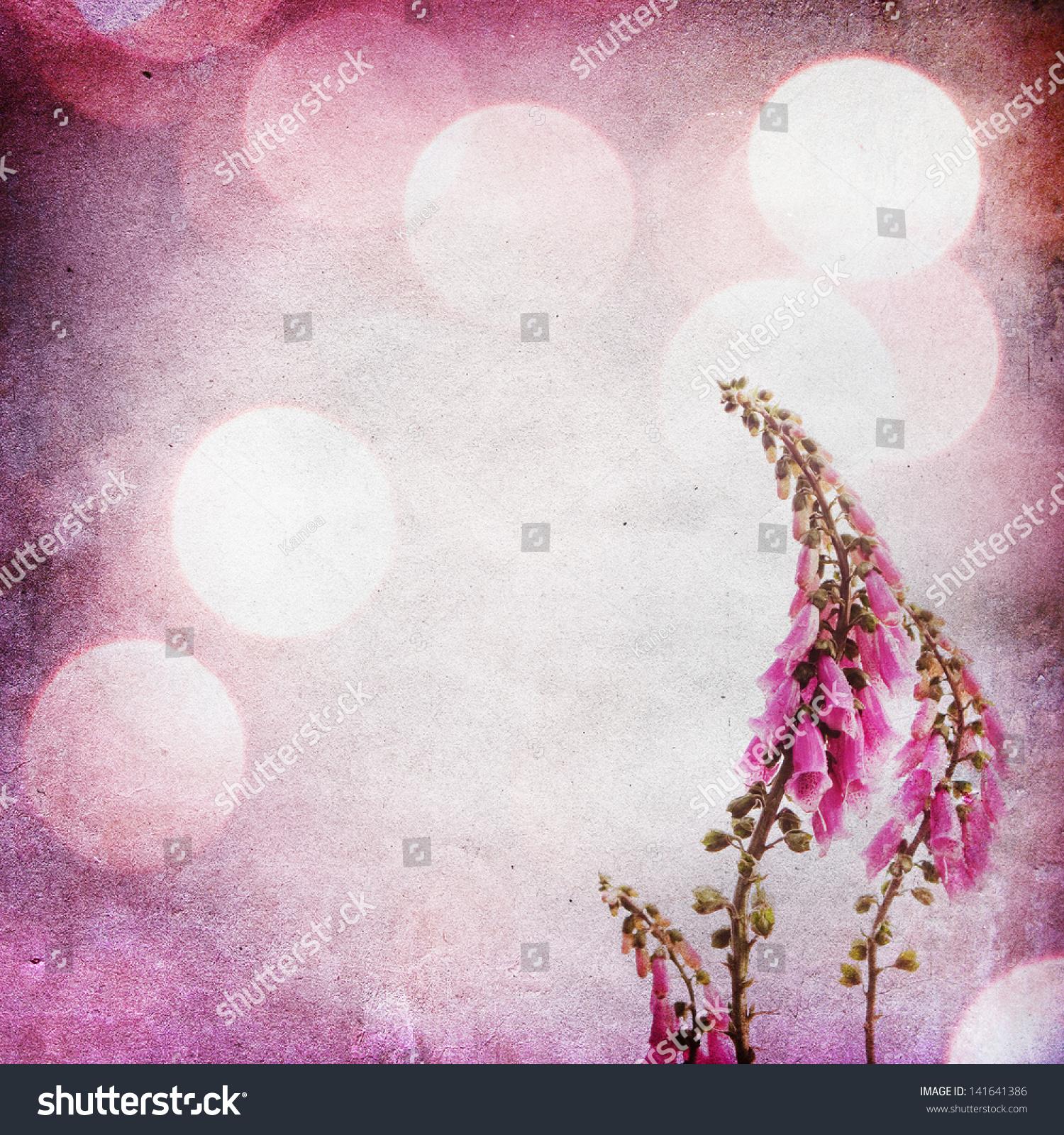 老式破旧的背景与紫色的花-背景/素材,复古风格-海洛