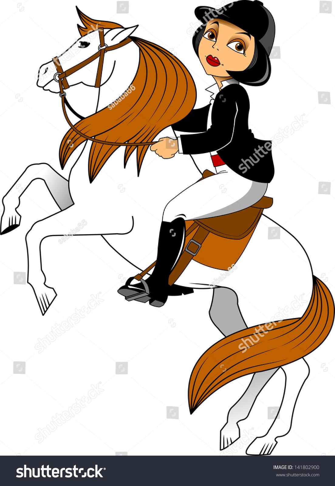 马骑士,盛装舞步,矢量图像孤立在白色背景-动物/野生