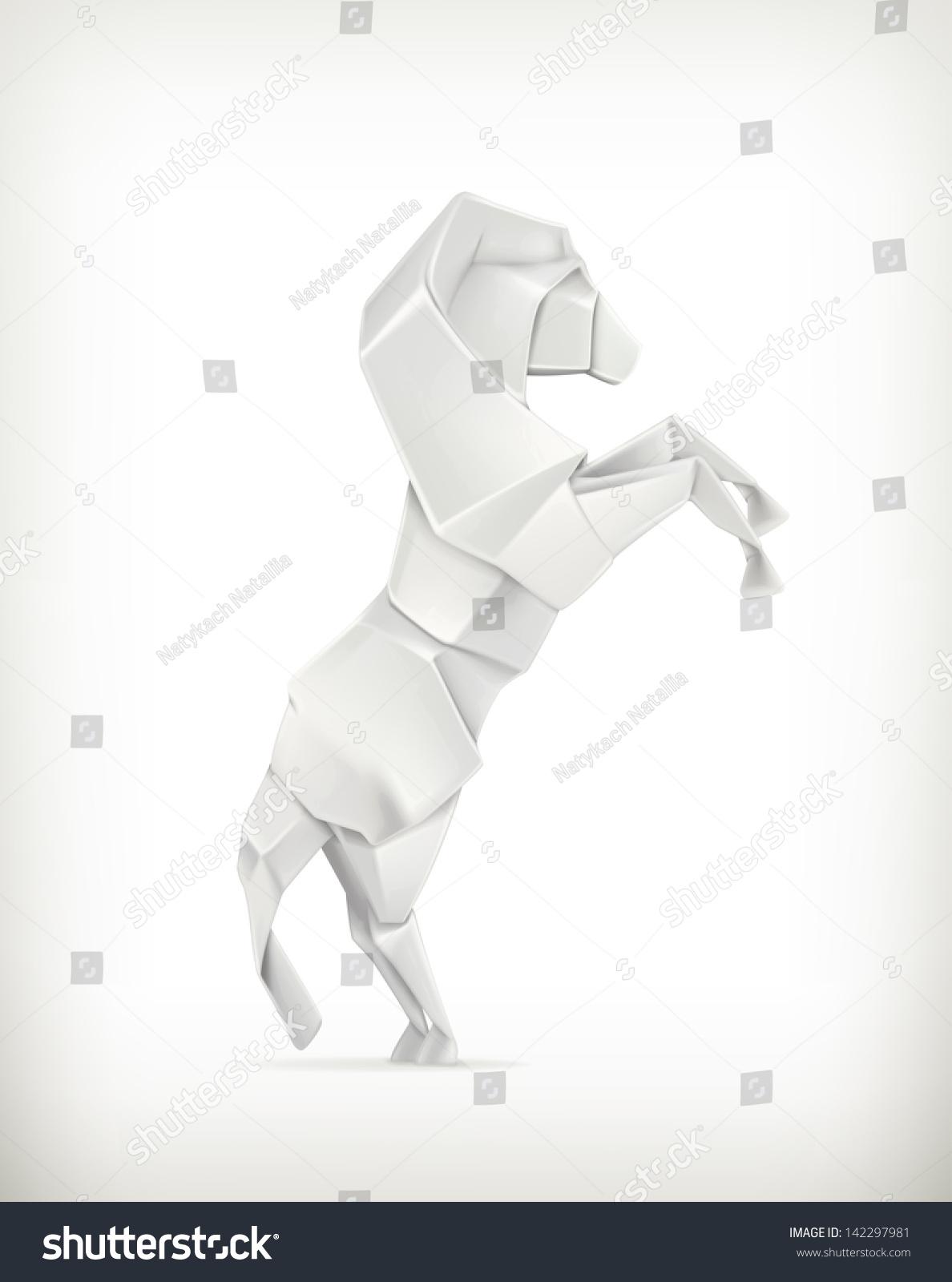 白皮书马,向量折纸-动物/野生生物,物体-海洛创意()-.