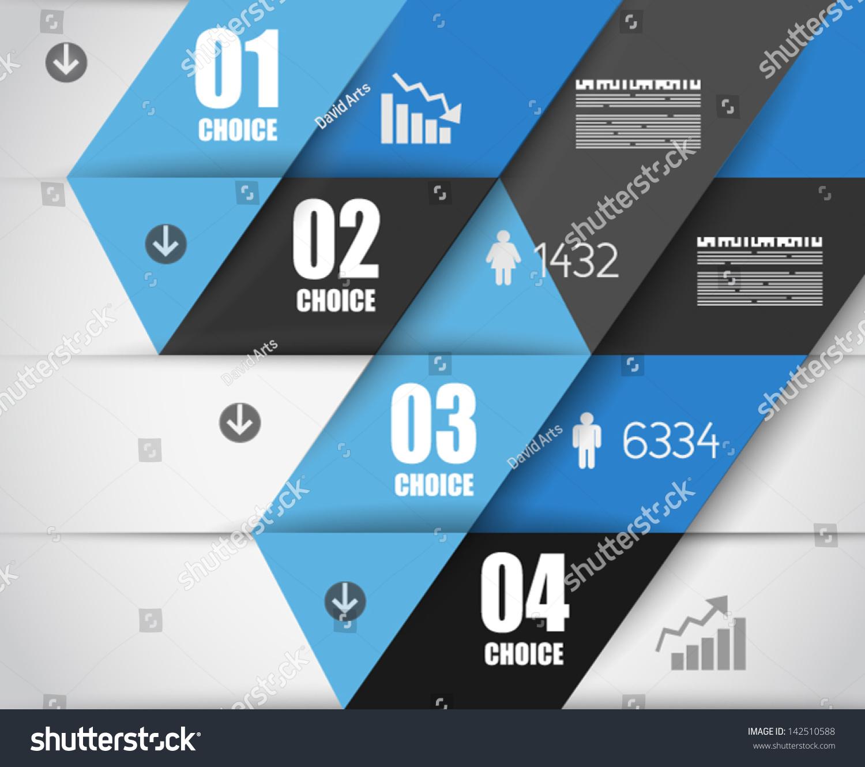信息图表设计模板和纸质标签.理想的显示信息,排名和.