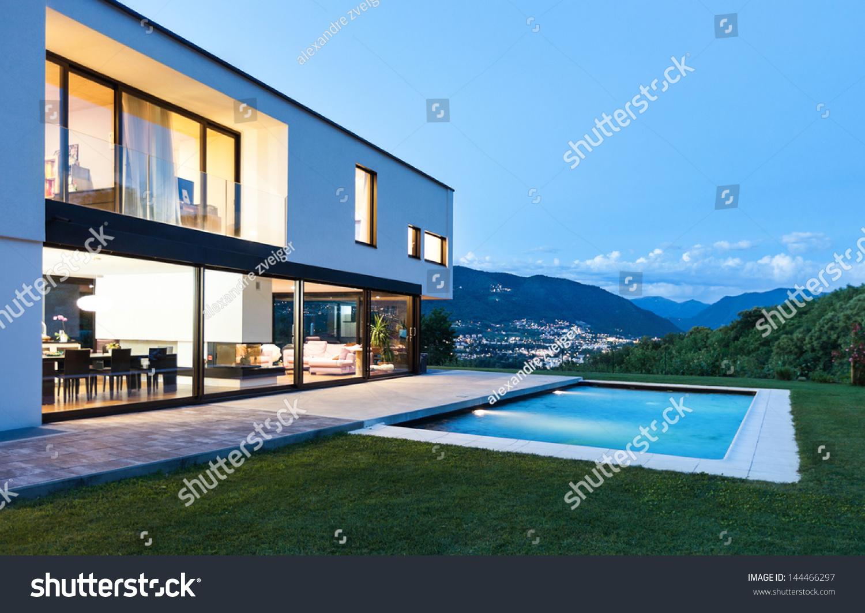 现代别墅游泳池,夜景-建筑物/地标