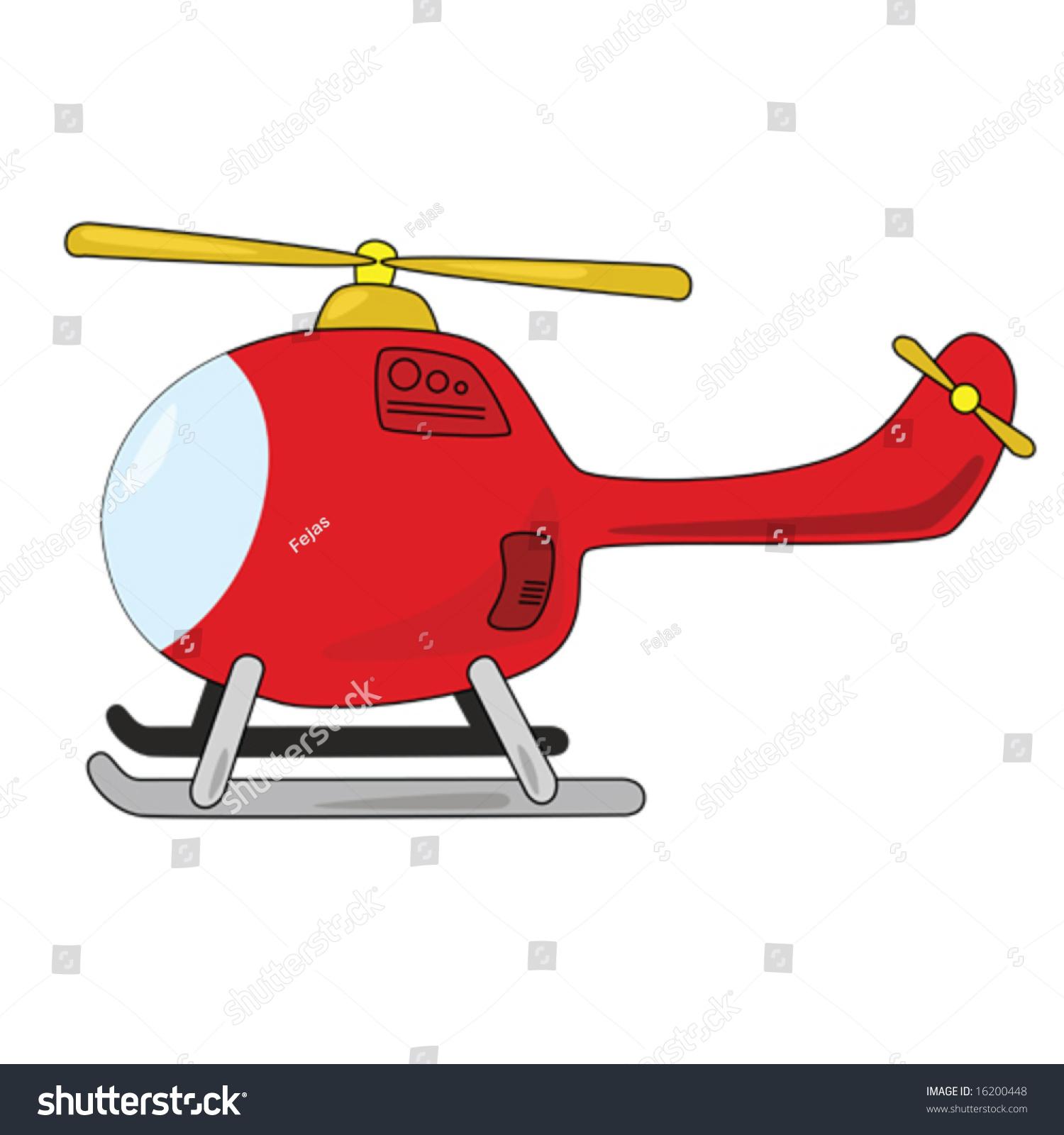 卡通插图的直升机,孤立在白色的