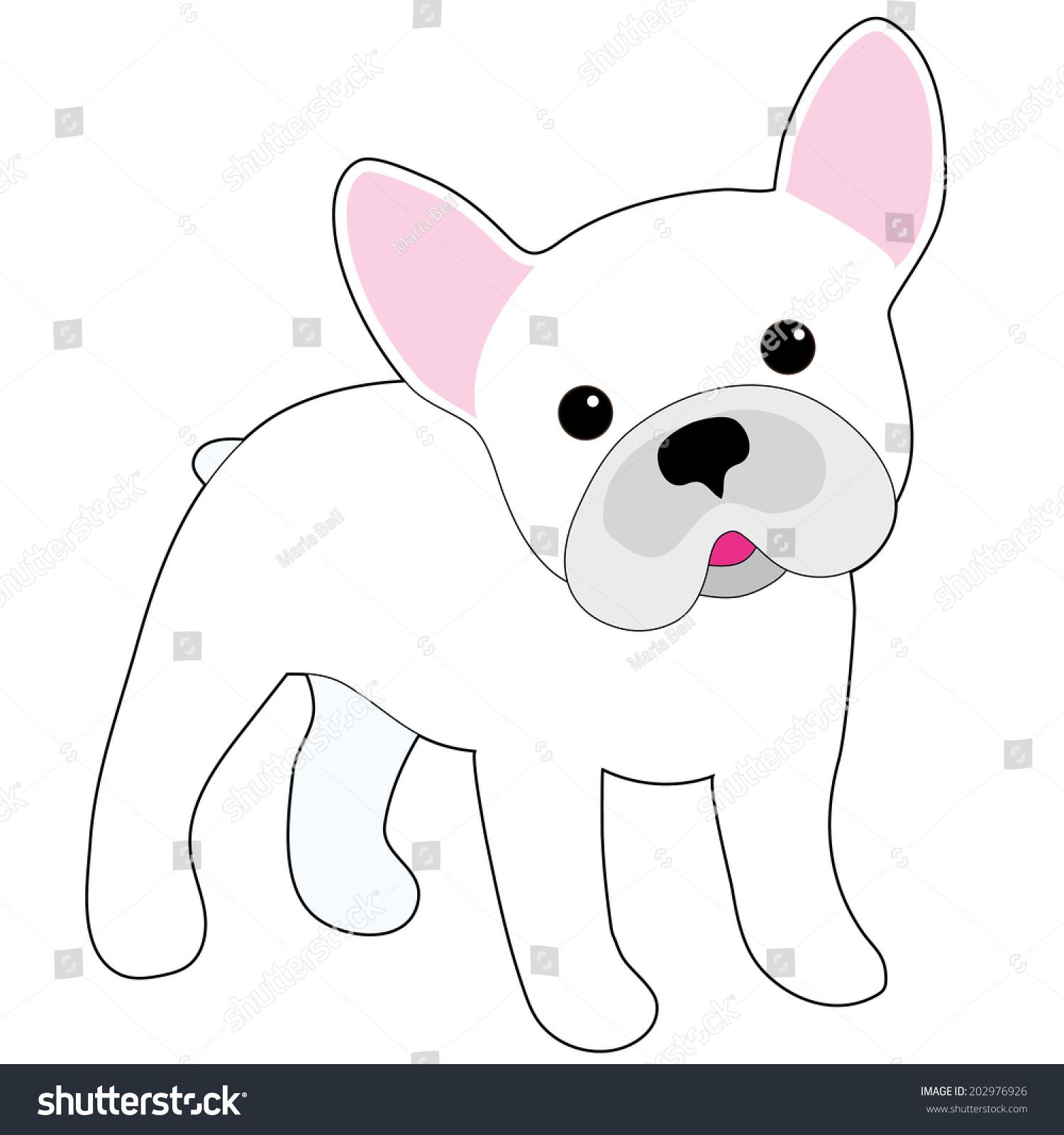 一个白色的小法国斗牛犬卡通插画-动物/野生生物,自然