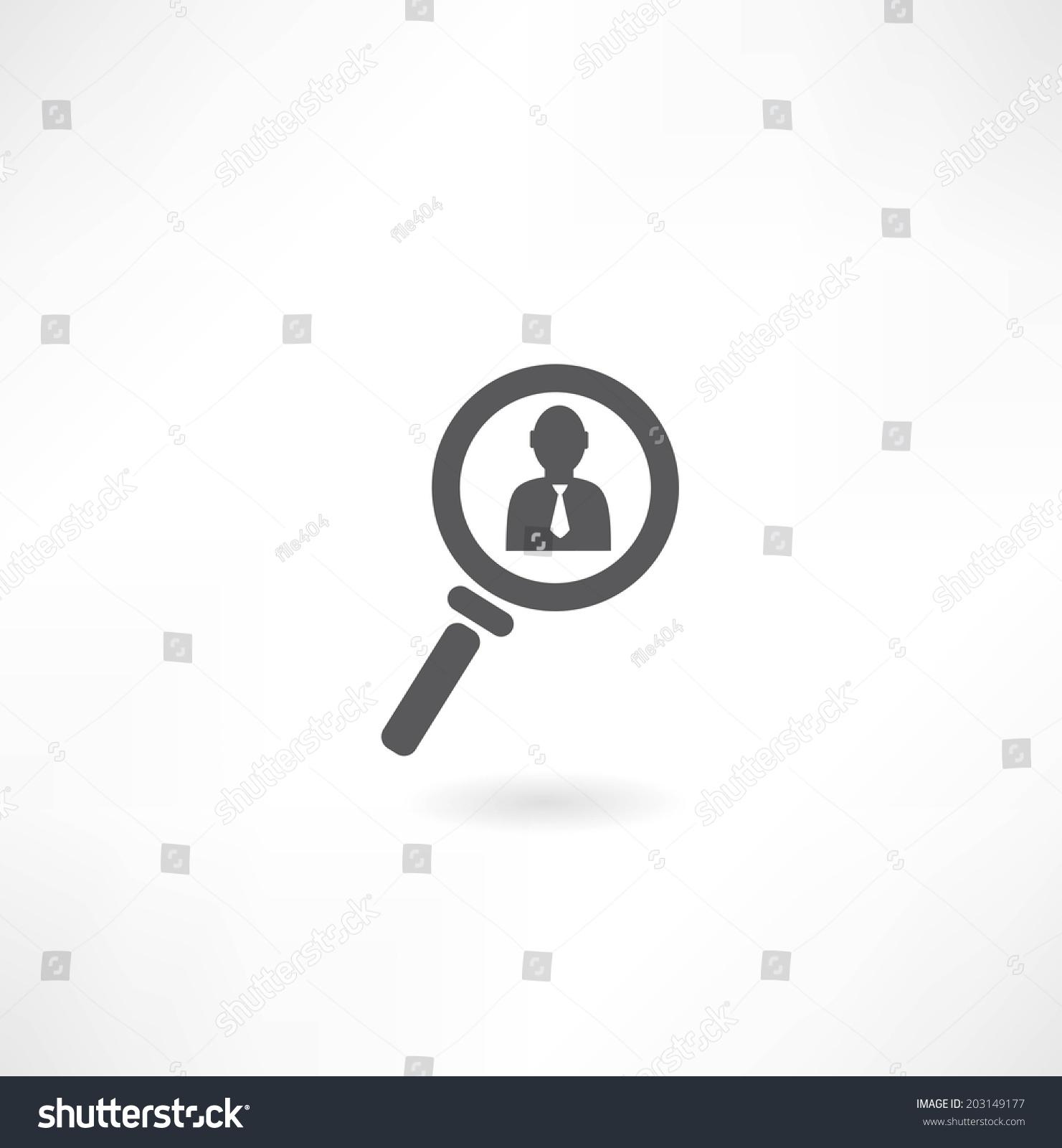 人用放大镜图标-商业/金融,符号/标志-海洛创意()-合.