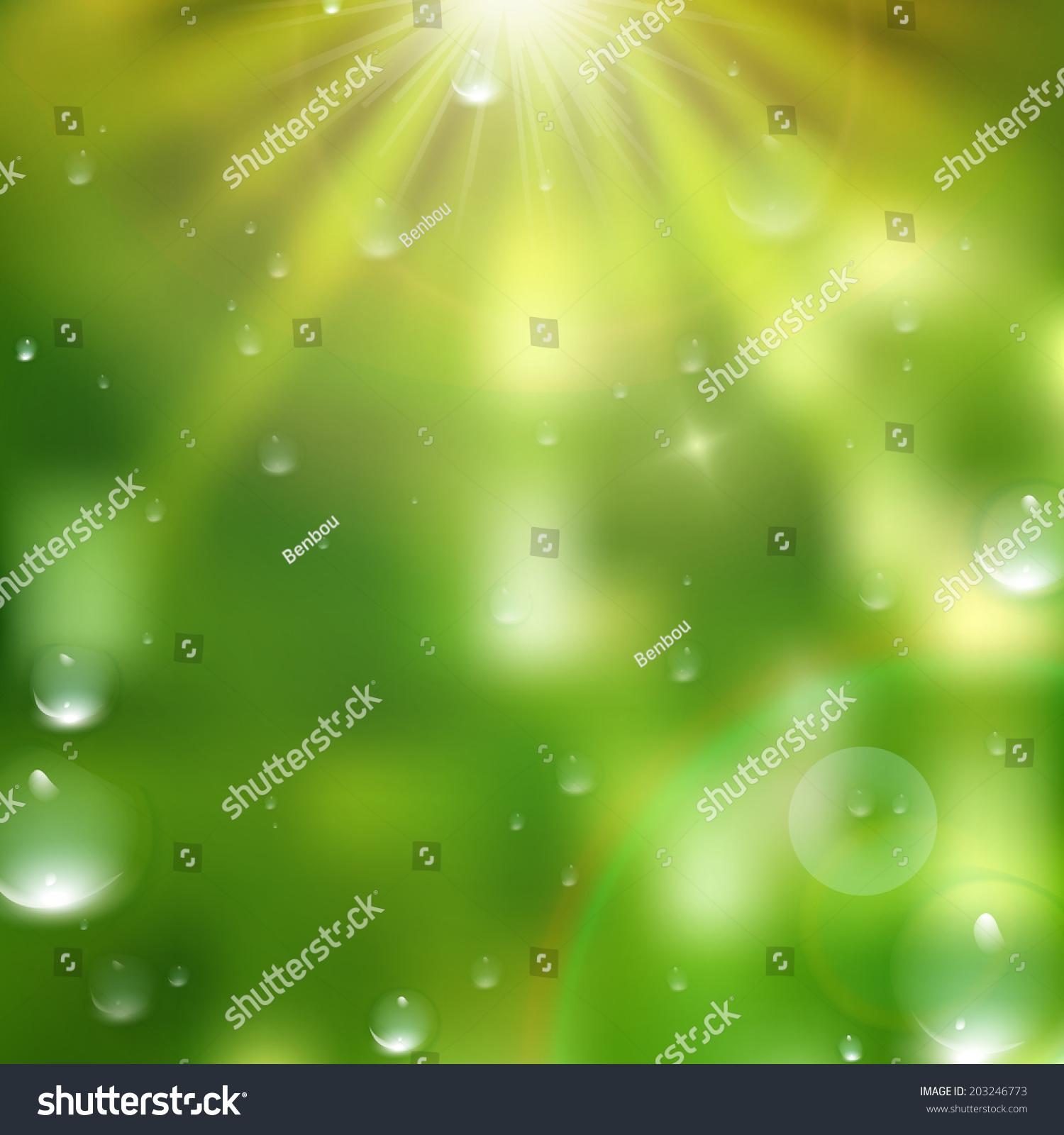 绿色背景的水滴.加eps10矢量文件-背景/素材,自然-()