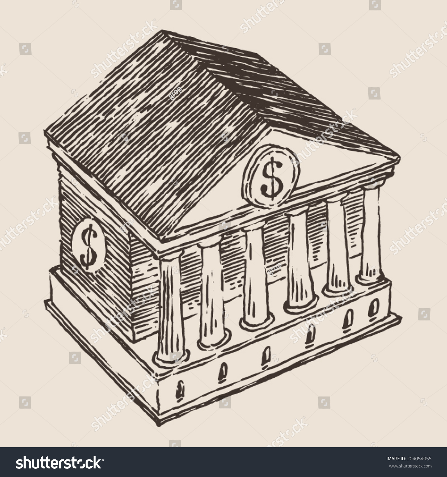 银行大楼,刻图,手绘草图-建筑物/地标,商业/金融-海洛