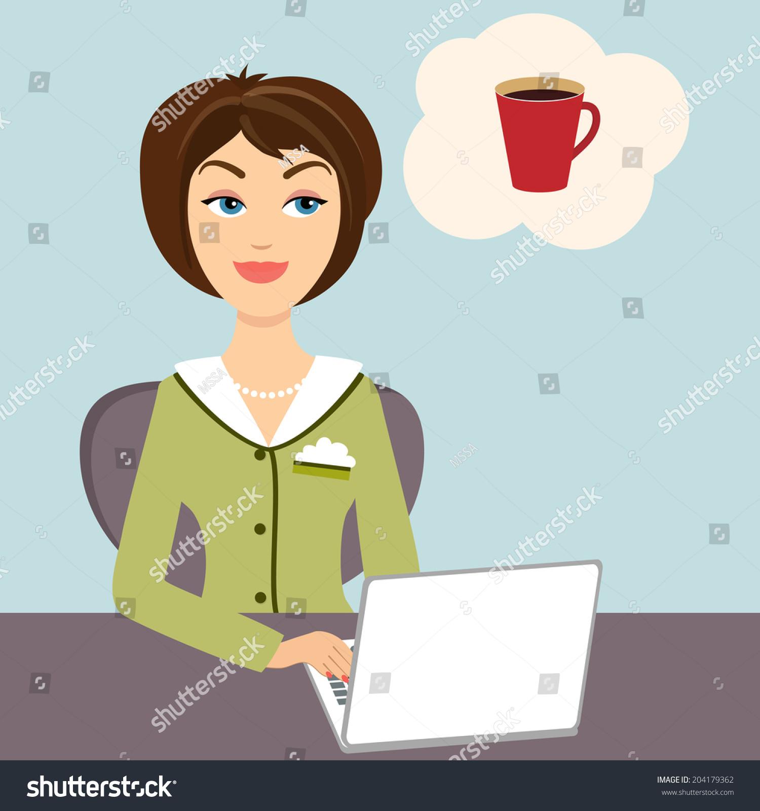 矢量图的一个有吸引力的年轻秘书坐在她的办公桌在着