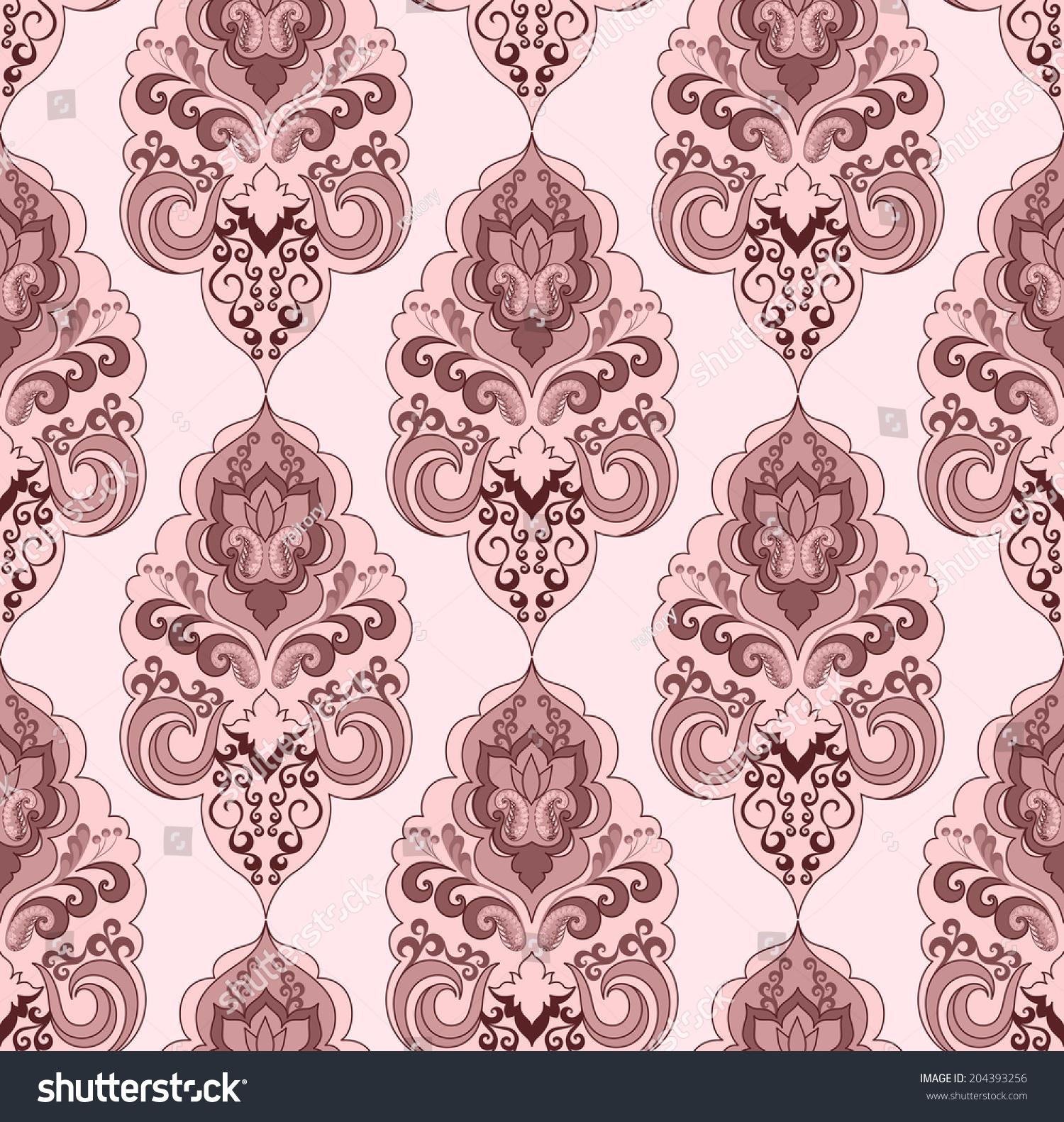 大马士革模式粉红色调在浅色背景-背景/素材