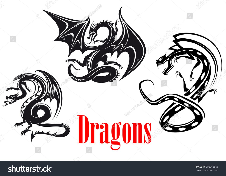 黑色危险龙部落风格的纹身,吉祥物或童话式的设计