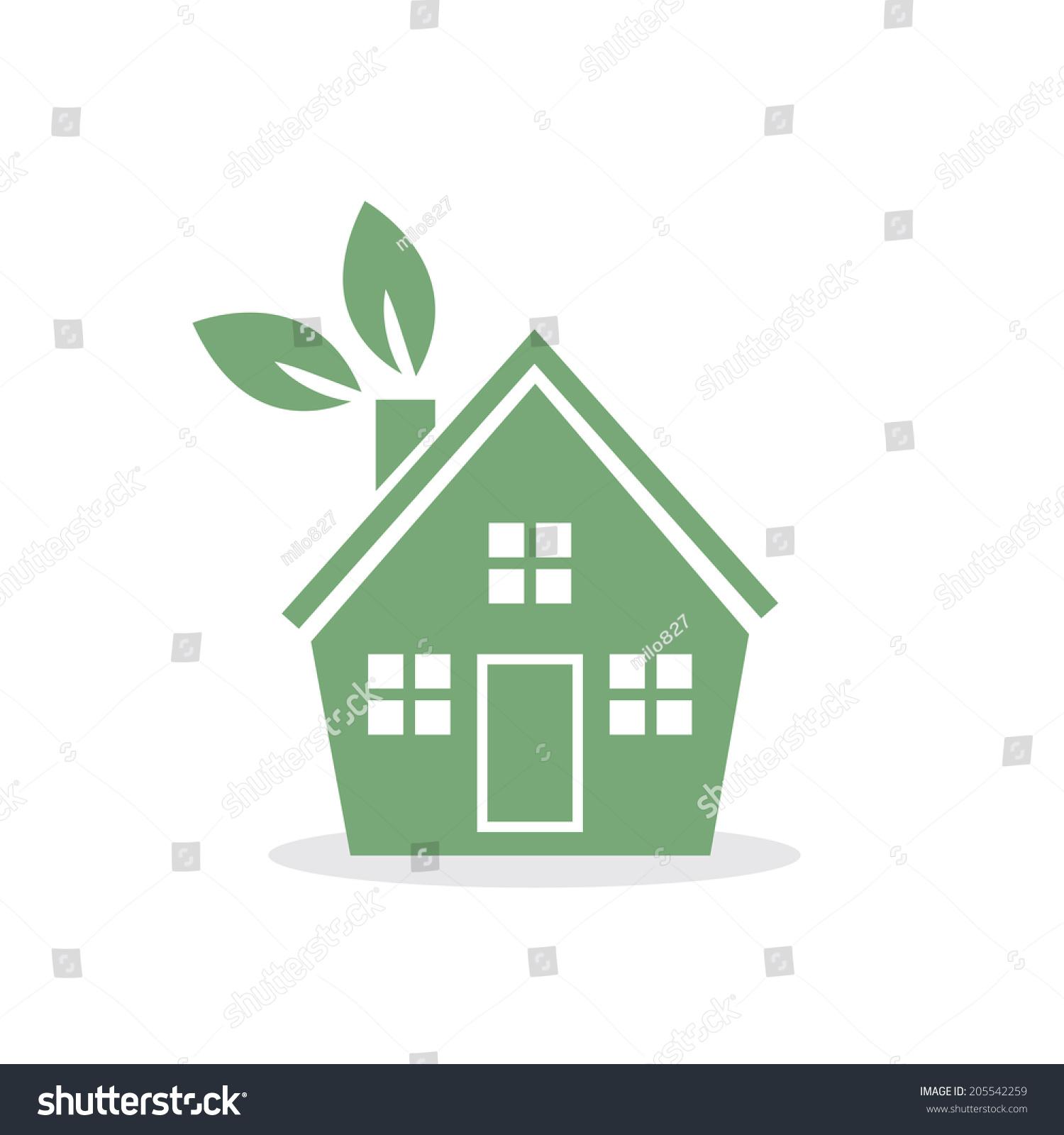 綠色的房子用樹葉在煙囪上-建筑物/地標,自然-海洛()