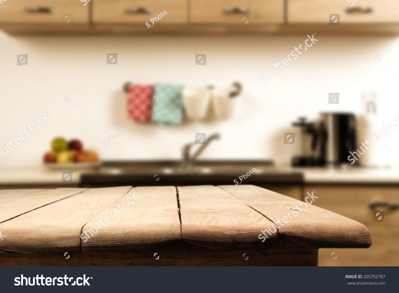 厨房和木头桌子-背景/素材