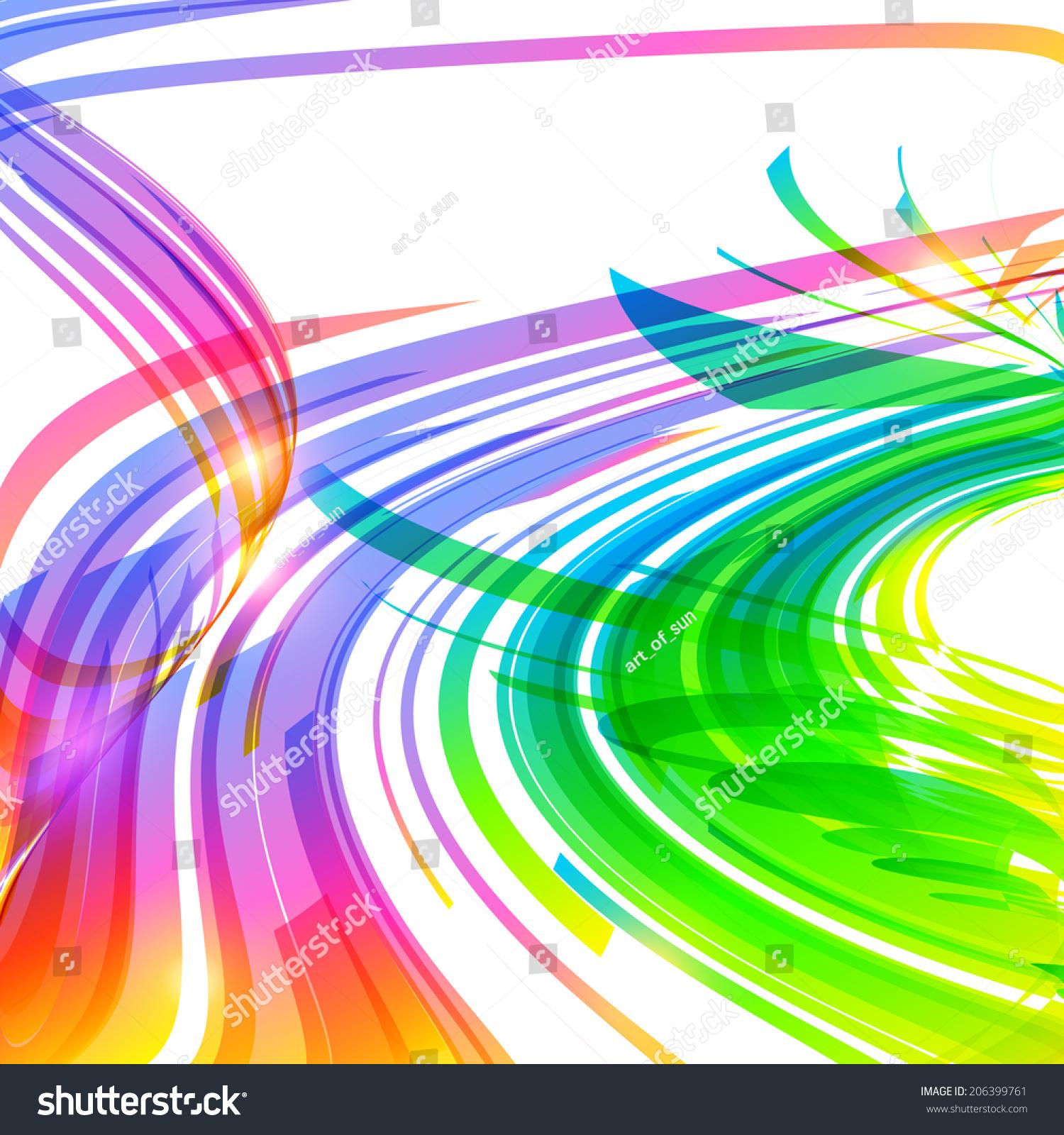 彩虹色抽象曲线背景-背景/素材