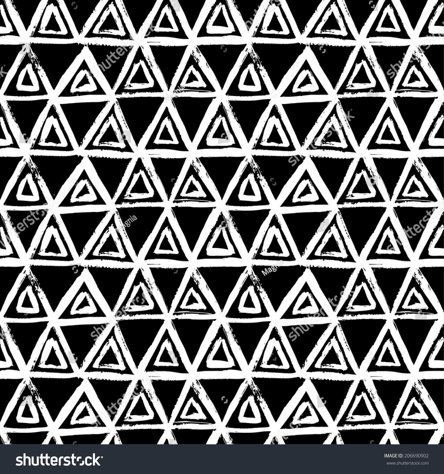 无缝几何手绘图案.矢量图
