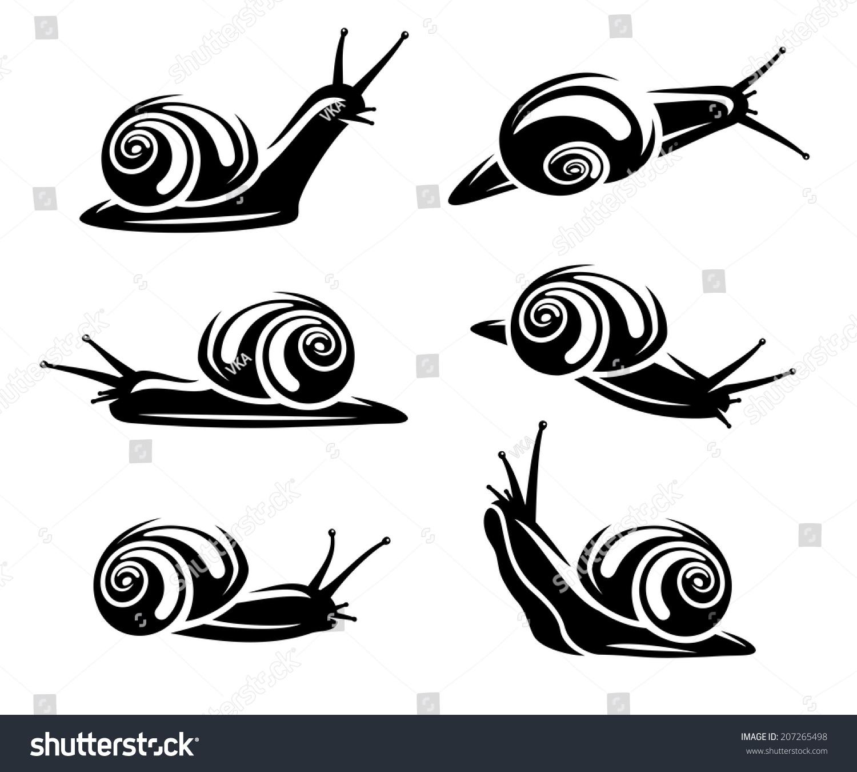 蜗牛向量集.-动物/野生生物