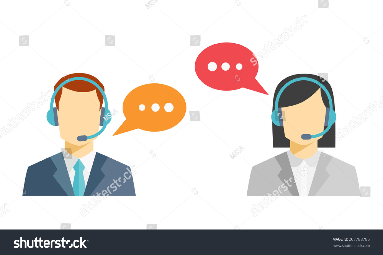 男性和女性的呼叫中心《阿凡达》图标和一个不知名的.图片