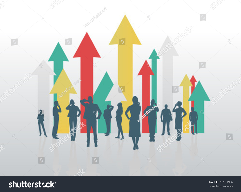 数字生成的业务人员与箭头指向上-科技-海洛创意()-合