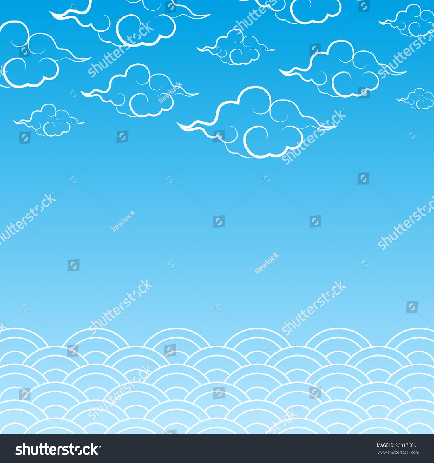 用亚洲风格装饰云和大海-背景/素材,自然-海洛创意()