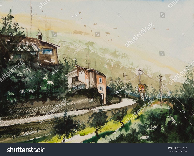 水的颜色画村有两个房子在路边和农业有树木的地方-艺术,公园/户外-海洛创意正版?#35745;?视频,音乐素材交易平台-Shutterstock中国独家合作伙伴-站酷旗下品牌