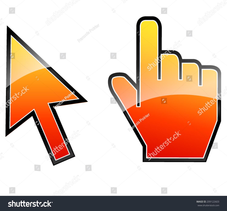矢量图的箭头和手指针图标-符号/标志-海洛创意()-合