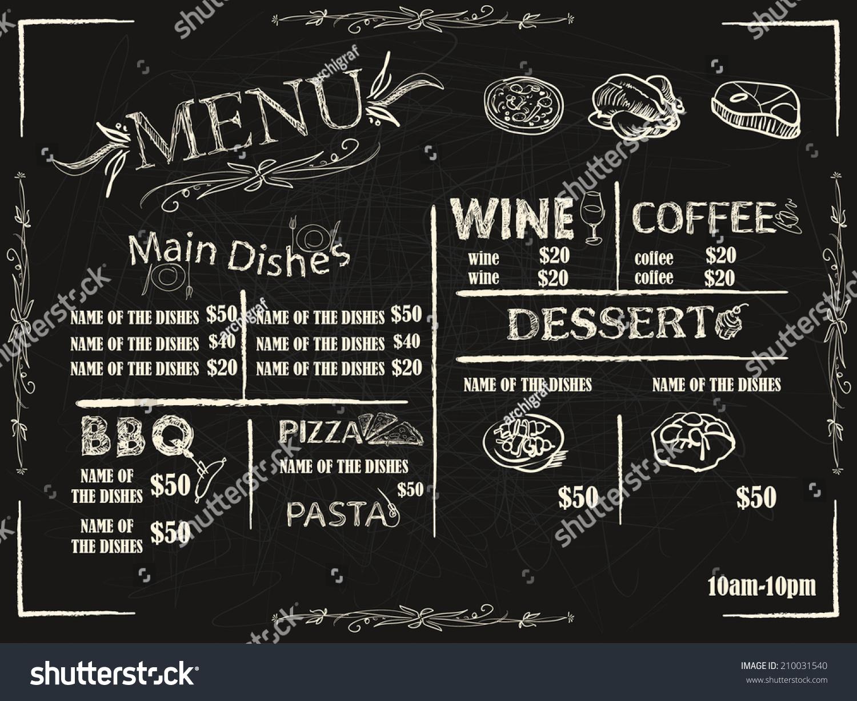 餐厅的食品菜单设计与黑板背景
