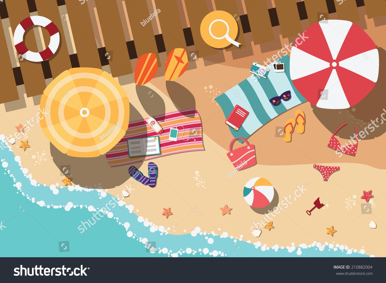 夏天的海滩在平面设计,海边和沙滩项目,矢量插图