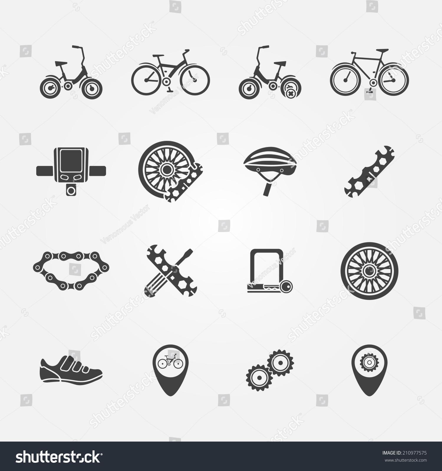 自行车图标矢量集自行车符号-交通运输