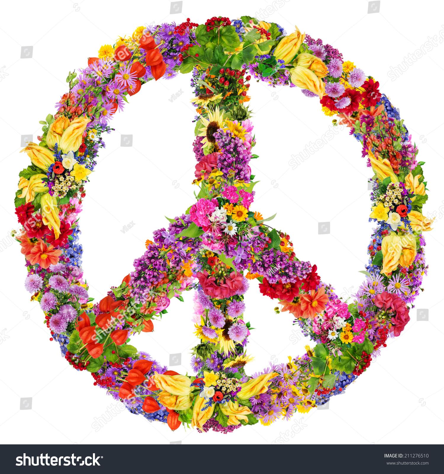和平标志的抽象拼贴画由新鲜的夏花.孤立的