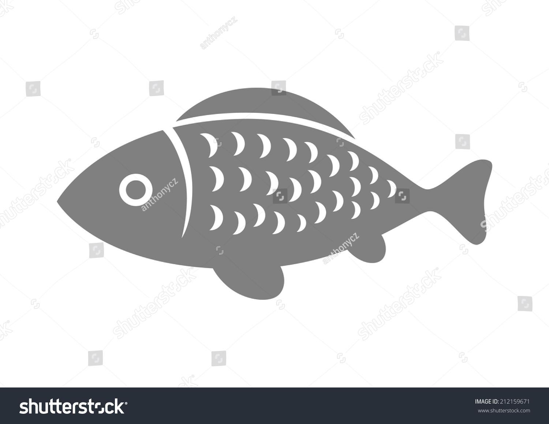 灰色鱼图标在白色背景-动物/野生生物-海洛创意()-合